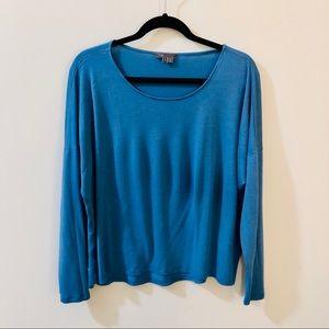 vince | blue long sleeve top